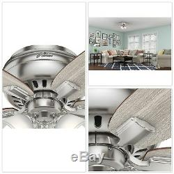 Echo Bluff 42 in. LED Indoor Brushed Nickel Flush Mount Ceiling Fan with Light