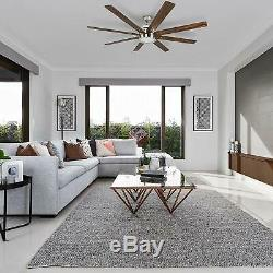 Fanimation Ceiling Fan 62 In 8 Blades Brushed Nickel Led Light Indoor Remote New