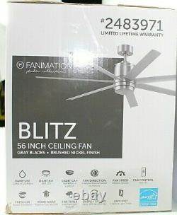 Fanimation Studio Collection Blitz Brushed Nickel 56-in LED Ceiling Fan, 7-Blade