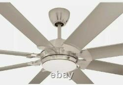 Glenmeadow 84. In Integrated LED Brushed Nickel Ceiling Fan with Light and Remote