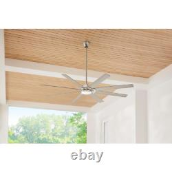 Glenmeadow 84 in. Integrated LED Brushed Nickel Ceiling Fan with Light and Remot