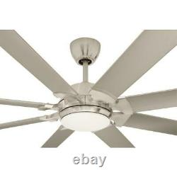 Glenmeadow 84 in. Integrated LED Brushed Nickel Ceiling Fan with Light and control