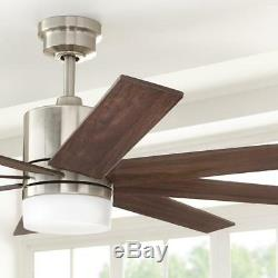 HDC 60 in. Indoor Zolman Pike Integrated LED DC Brushed Nickel Ceiling Fan