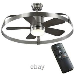 HDC Harrington 36 White LED Brushed Nickel In/Outdoor Ceiling Fan withRemote