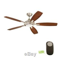 HDC Petersford 52 in. Integrated LED Indoor Brushed Nickel Ceiling Fan