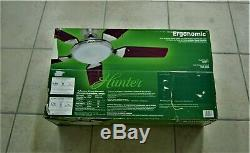 HUNTER CEILING FAN ERGONOMIC 56 BRUSHED NICKEL NEW OLD STOCK IN BOX with REMOTE