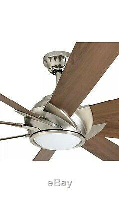 Harbor Breeze Hydra 70-in Brushed Nickel LED Indoor Downrod Mount Ceiling Fan