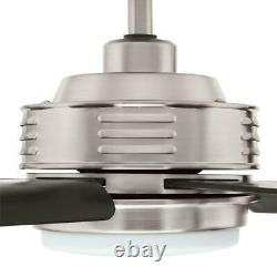 Home Decorators C. Hansfield 56 in. LED Outdoor B. Nickel Ceiling Fan withRemote C
