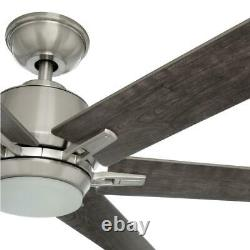 Home Decorators C. Kensgrove 64 in. LED Br. Nickel Ceiling Fan withRemote Control