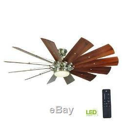 Home Decorators Ceiling Fan 60 In Large LED Brushed Nickel 12 Windmill Remote