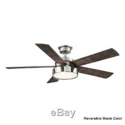 Home Decorators Collection Cherwell 52 in. LED Brushed Nickel Ceiling Fan