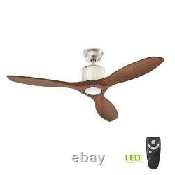 Home Decorators Collection Reagan 52 in. LED Indoor Brushed Nickel Ceiling Fan