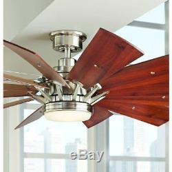 Home Decorators Collection Trudeau 60 in. LED Indoor Brushed Nickel Ceiling Fan