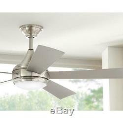 Home Decorators Hanlon 52 in. Int. LED In/Outdoor Stainless C. Fan withLight&Wall