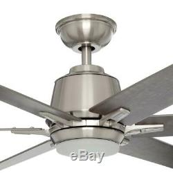 Home Decorators Kensgrove 64 in. LED Brushed Nickel Ceiling Fan with Remote