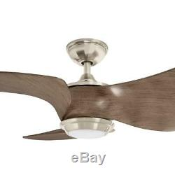 Home Decorators Miraval+nbsp39 in. LED Brushed Nickel Ceiling Fan with Light
