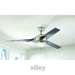 Home Decorators Simpkins 56 in. LED Indoor B. Nickel Ceiling Fan withLight & Remote