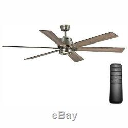 Home Decorators Statewood 70 in. LED B. Nickel Ceiling Fan withLight Kit and Remote