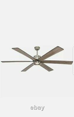 Home Decorators Statewood 70 in. LED Brushed Nickel Ceiling Fan Light & Remote