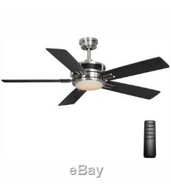 Home Decorators Windlow 52 LED Indoor Brushed Nickel Ceiling Fan with Light Kit