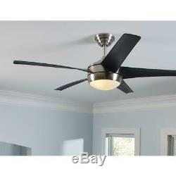 Home Decorators Windward IV 52 in. LED Indoor B. Nickel Ceiling Fan withLight&Remot