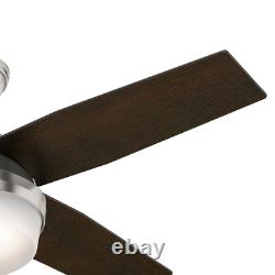 Hunter 44 Remote Control Ceiling Fan Dempsey Brushed Nickel 59245