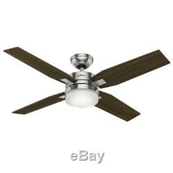 Hunter 50 Contemporary Ceiling Fan in Brushed Nickel with Light Kit and Remote