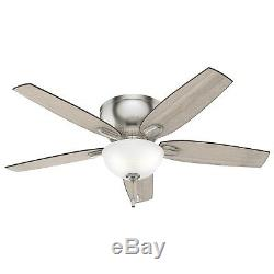 Hunter 52 in. Low Profile Ceiling Fan with LED Light Kit, Brushed Nickel