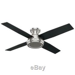 Hunter 59247 Dempsey Collection 52 Low Profile No Light, Brushed Nickel