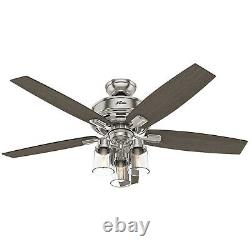 Hunter Bennett 52 Indoor Ceiling Fan with LED Lights and Remote Control, Nickel