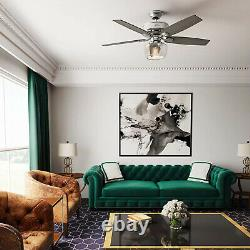 Hunter Bennett 52 Quiet Ceiling Fan with LED Light and Remote Control, Silver