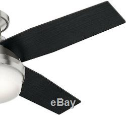 Hunter Dempsey 44 in. Ceiling Fan Brushed Nickel Low Profile LED Reversible