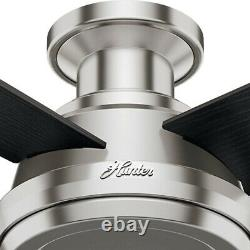 Hunter Dempsey 52 Low Profile Indoor Ceiling Fan with Remote, Brushed Nickel