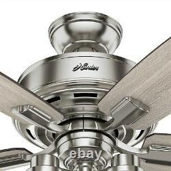 Hunter Fan 44 in Casual Brushed Nickel Indoor Ceiling Fan with Light and Remote