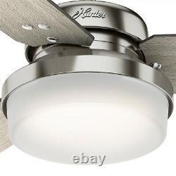Hunter Fan 44 in Contemporary Brushed Nickel Ceiling Fan w Light and Remote