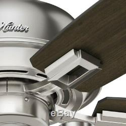Hunter Fan 44 inch Casual Ceiling Fan in Brushed Nickel with 3 LED Lights