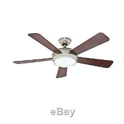 Hunter Fan 52 Contemporary Ceiling Fan in Brushed Nickel with Integrated Light