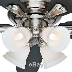 Hunter Fan 52 inch Brushed Nickel Ceiling Fan with Cased White Glass
