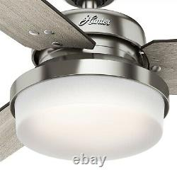 Hunter Fan 52 inch Contemporary Brushed Nickel Ceiling Fan with Light and Remote