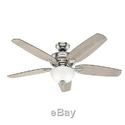 Hunter Fan 54 in Casual Brushed Nickel Ceiling Fan with Light Kit & Remote Control