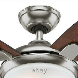 Hunter Fan 54 in Contemporary Brushed Nickel Ceiling Fan with Light and Remote