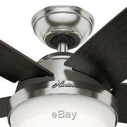 Hunter Fan 60 inch Brushed Nickel Modern LED Ceiling Fan with Light and Remote