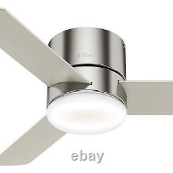 Hunter Minimus 44 Low Profile Ceiling Fan with LED Light & Remote, Brushed Nickel