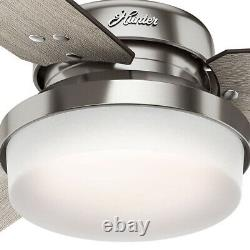 Hunter Sentinel 52 Modern Ceiling Fan with LED Light and Remote, Brushed Silver