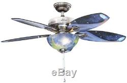 Indoor Ceiling Fan Light Kit Decorative Glass Brushed Nickel 48 Inches Standard