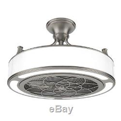 Indoor Outdoor Brushed Nickel Ceiling Fan LED Light Remote Control 22 in. Drum