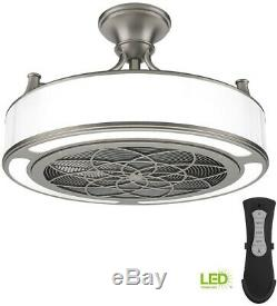 Indoor Outdoor Ceiling Fan Remote Control 22 Inch LED Brushed Nickel Small Room