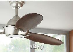 Indoor Outdoor Ceiling Fan with Light 60 3 Blade LED Brown Blades Remote Nickel