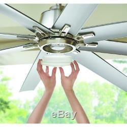 Kensgrove 72 Inch LED Integrated Indoor/Outdoor Brushed Nickel Ceiling Fan