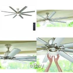 Kensgrove 72 in. Integrated LED Indoor/Outdoor Brushed Nickel Ceiling Fan with L